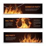 Le insegne orizzontali di vettore del partito della griglia del Bbq hanno messo con fuoco caldo realistico Immagini Stock