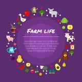 Le insegne piane dell'azienda agricola rotonda che descrivono la vita negli animali della campagna hanno isolato l'illustrazione  Immagine Stock