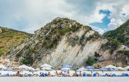 Le Isole Ionie della spiaggia di Myrtos Fotografia Stock