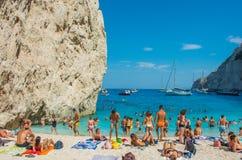 Le Isole Ionie di Zacinto della spiaggia di Navagio Fotografia Stock