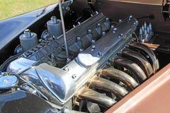 Le jaguar xk120 de vintage folâtre le moteur Photographie stock