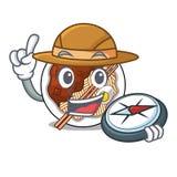 Le jajangmyeon d'explorateur est placé dans la cuvette de mascotte illustration stock