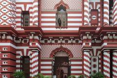 Le Jamiul Alfar Masjid ou généralement connu comme mosquée rouge Pettah - à Colombo Images stock