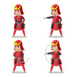 Le Japon Armor Character Vector rouge samouraï Photos libres de droits