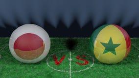 Le Japon contre le Sénégal Coupe du monde 2018 de la FIFA Image 3D originale Photos libres de droits