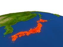 Le Japon en rouge d'orbite Image stock