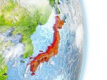 Le Japon en rouge sur terre Images libres de droits
