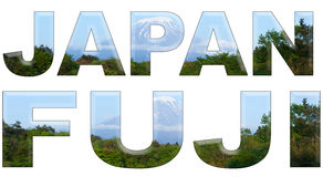 Le Japon et Fuji écrits avec les lettres d'accompagnement du mont Fuji Photos stock