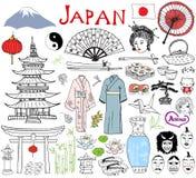 Le Japon gribouille des éléments Le croquis tiré par la main a placé avec la montagne de Fujiyama, la porte de Shinto, les sushi  Photo stock