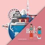 le Japon infographic, global avec des points de repère du Japon, style plat Amour Japon de voyage d'amour Photographie stock libre de droits