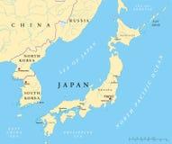 Le Japon, la Corée du Nord et la carte politique de la Corée du Sud Photos stock