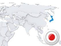 Le Japon sur la carte de l'Asie illustration de vecteur