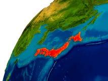 Le Japon sur le globe Photos libres de droits