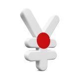 Le Japon Yen Symbol avec le drapeau Image libre de droits