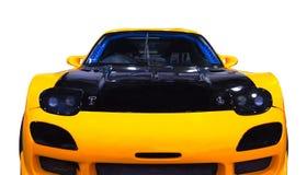Le Japonais a accordé la voiture de sport jaune Front View Fond blanc Front View illustration libre de droits