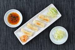 Le Japonais a cuit bourrer à la vapeur la farine avec du porc et le chou comme Gyoza Image stock