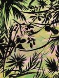 Le jardin d'aquarelle fleurit sur le fond blanc, illustration de vecteur de style japonais Images libres de droits