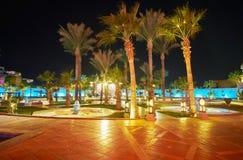 Le jardin de soirée du palais de fantaisie, Sharm el Sheikh, Egypte Images stock