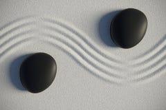 Le jardin de zen dans une vue supérieure avec des pierres a séparé par une vague Photos libres de droits