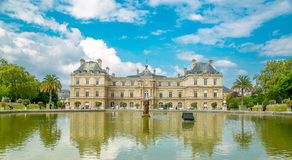 Le Jardin du Luxembourg place of palace garden. With blue sky in Paris ,France stock images