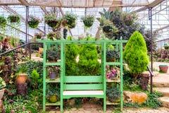 le jardin réglé de fauteuil vert décorent Photographie stock libre de droits