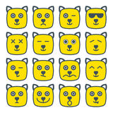 Le jaune émotif de place d'emoji de chat fait face à l'icône Photographie stock libre de droits