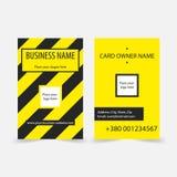 Le jaune abstrait barre des cartes de visite professionnelle de visite Photos stock