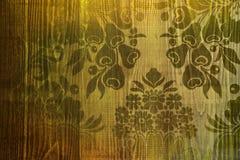 Le jaune fleurit l'âme imprimée dans le plancher en bois simple photo stock
