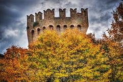 Le jaune part avec la tour de Corinaldo à l'arrière-plan Images stock