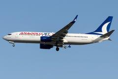 Le jet de TC-JFK Anadolu, Boeing 737-800 a appelé ZONGULDAK Photographie stock libre de droits