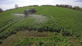 Le jet de tracteur d'agriculture fertilisent avec le gisement de graine de colza de culture d'herbicide d'insecticide au printemp banque de vidéos