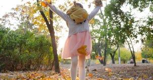 Le jet heureux d'enfant féminin part en automne dans le mouvement lent et le sourire dans l'appareil-photo sur la nature banque de vidéos