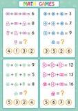 Le jeu éducatif de mathématiques pour les enfants, fiches de travail d'amusement pour des enfants, enfants apprennent à résoudre  illustration stock