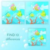 Le jeu éducatif pour des enfants trouvent 10 différences Photo stock