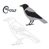 Le jeu éducatif relient des points à l'oiseau de corneille d'aspiration illustration de vecteur
