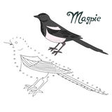 Le jeu éducatif relient des points à l'oiseau de pie d'aspiration illustration stock