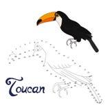 Le jeu éducatif relient des points à l'oiseau de toucan d'aspiration illustration stock