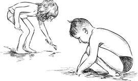 Le jeu d'enfants sur la plage illustration libre de droits