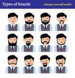 Le jeu de caractères plat de bande dessinée, types de barbes Photographie stock