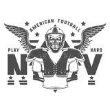 Le jeu de football américain imprime dur pour la chemise, les emblèmes, le logo, le tatouage et les labels Images stock