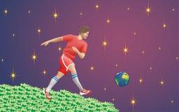 Le jeu de la terre de planète du football Photos stock