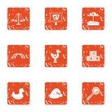 Le jeu sur des icônes d'avenue a placé, style grunge illustration libre de droits