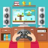 Le jeu vidéo de jeu d'adolescent avec le gamepad et le playstation dirigent l'illustration illustration de vecteur