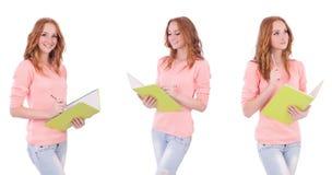 Le jeune étudiant avec des carnets d'isolement sur le blanc Image stock