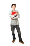 Le jeune étudiant d'isolement sur un blanc photos libres de droits