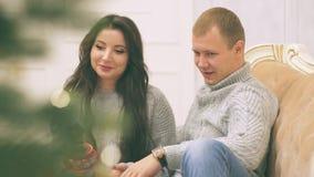 Le jeune couple dans l'amour en décor de nouvelle année avec les cadeaux et l'arbre de Noël, là est bruit dans la vidéo banque de vidéos