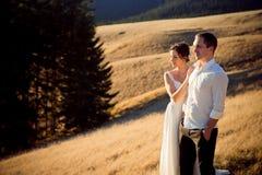 Le jeune couple heureux de mariage apprécie le paysage de montagne Photos stock