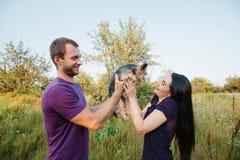 Le jeune couple heureux sur la nature, le garçon donne à fille un chien - terrier de Yorkshire comme cadeau Image stock