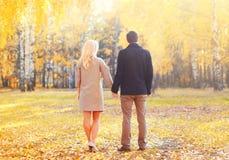 Le jeune couple se tenant ensemble remet la marche dans la vue ensoleillée chaude de jour d'automne de retour Image libre de droits