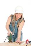Le jeune femme blond travaille Photo stock